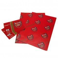 Two sheets of Arsenal wrapping paper and Arsenal gift tags in the traditional club colours and featuring the club crest. FREE DELIVERY on all of our gifts Football Team Gifts, Uk Football, Arsenal Players, Arsenal Fc, Arsenal Merchandise, Arsenal Gifts, Gift Wrapping Paper, Business Supplies, Gift Bags