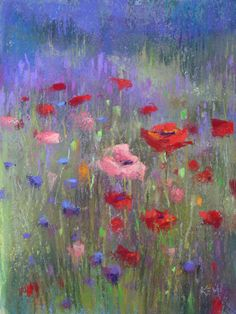 beautiful water color paintings of flowers | Purple Haze Lavender Farm Painting | Karen Margulis