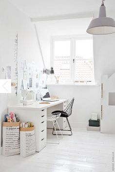home office inspiration - black and white Home Office Lighting, Home Office Space, Home Office Design, Home Office Decor, Office Workspace, Office Ideas, Office Designs, Office Shelving, Office Inspo