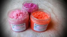 Home made all natural sugar scrub made with organic coconut oil, olive oil, sugar, color (mica mineral powder) fragrance, and cosmetic glitter sprinkled on top.   Use in the shower just before you step out. Rub vigorously on skin, rinse off and pat skin dry. Very moisturizing!! You will get 4 o...