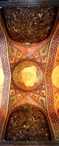 Painting on the cilling of #chehel_sotoon from #safavid period in #isfahan , just 500 meters far from #naghshe_jahan at west
