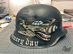German Helmet on Pantone Canvas Gallery German Motorcycle Helmet, Army Helmet, German Helmet, Bobber Motorcycle, Motorcycle Style, Chopper Helmets, Bobber Chopper, Tank Tattoo, Helmet Tattoo