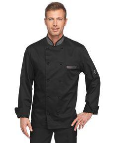 Giacca da cuoco con profilo nero polvere e bottoni estraibili. Tessuto 65%-35% cot. Disponibile nel colore NERO.