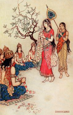 "Damayanti choosing a husband. 'Nala and Damayanti' from ""Indian myth and legend"" (1913). Illustration by Warwick Goble"