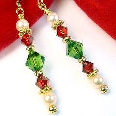 Red and Green Crystal Festive Earrings with Pearls, Christmas Dangles | PrettyGonzo - Jewelry on ArtFire