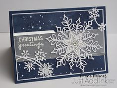 handmade snowflake Christmas Card using Stampin Up Snowflake Showcase - Snowfall dies and Snow is Glistening stamp set. Available November 2018 only. Card by Di Barnes Independent Demonstrator in Sydney Australia colourmehappy sydneystamper Christmas Cards 2018, Homemade Christmas Cards, Xmas Cards, Christmas Greetings, Homemade Cards, Handmade Christmas, Holiday Cards, Christmas Crafts, Stampin Up Christmas 2018