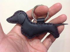 Prince the Dachshund Leather Keychain ( Black )