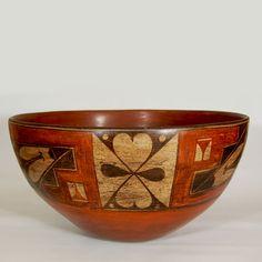 """#adobegallery - Very Large and Exquisite Dough Bowl from Zia Pueblo. Category: Historic Origin: Zia Pueblo Medium: clay, pigment Size: 10"""" depth x 19"""" diameter Item # C3730B"""