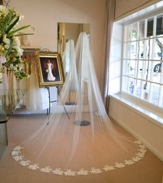 Alencon Lace Cathedral Veil ~ Cathedral Mantilla Veil ~  Cathedral Length Wedding Veils ~ Wedding Veils Mantilla ~  Wedding Veils ~ Mantilla Veil ~ www.couturesbylaura.etsy.com ~ www.couturesbylaura.com
