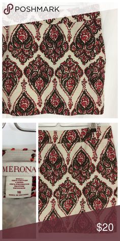 """Merona Eden Skirt Beautiful paisley pencil skirt in crisp woven Cotten with full poly lining. Hidden zip closure and side slit pockets. Banded waist, flattering flat front. Size 16,  19"""" waist, 18"""" length. Great condition. Skirts Pencil"""
