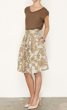 Lela Rose Brown, Silver And Taupe Skirt | VAUNTE