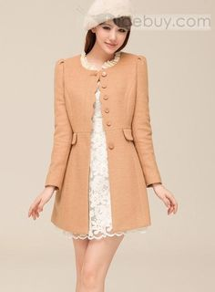 Carefree Korean Style Slim Wool Long Coat--- LOVE