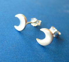 Silver Crescent Moon Stud Earrings Earrings by TwistedDesigns