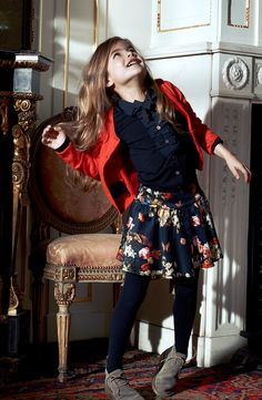 adorable fall outfit for the girl - floral plus navy, gray, red. a classic pretty look for starting school.