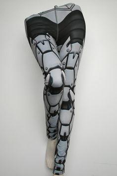 Bionic Leggings Size XXXL Light Grey Printed Metal by Mitmunk
