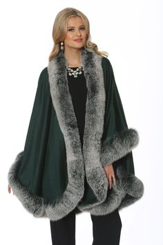 Madison Avenue Mall Womens Cashmere Cape with Real Fox Fur Trim - Emerald Winter Poncho, Poncho Coat, Cashmere Poncho, Fur Accessories, Fabulous Furs, Outerwear Women, Autumn Fashion, Fashion Cape, Fox Fur