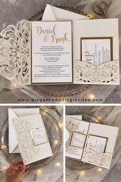 pearl white and shimmer gold pocket wedding invites #ewi #weddinginvitations
