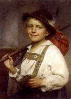 Portrait Of A Young Boy In Liederhosen