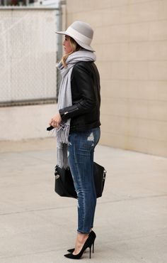 Grey Fringed Oversized Scarf , Moto Jacket , Ripped Jeans