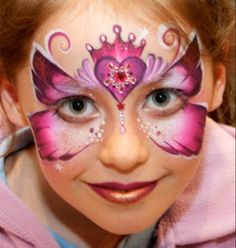 mask face painting; pink butterfly w/crowned heart