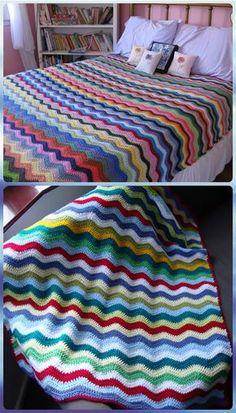 Crochet Neat Ripple Blanket Free Pattern - Crochet Rainbow Blanket Free Patterns