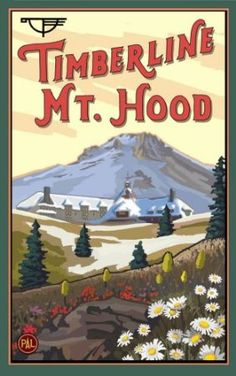 """Amazon.com: Northwest Art Mall 11"""" x 17"""" Poster Timberline Lodge in the Spring by Paul A. Lanquist: Home & Kitchen"""