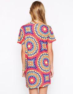 Image 2 - Hype - Robe t-shirt avec imprimé style festival au crochet et logo sur le devant
