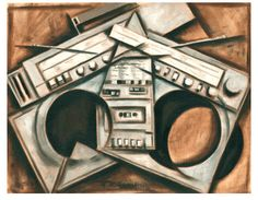 broken beats boom box sterio painting by Tommervik