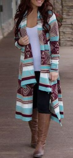 Collarless Long Sleeve Spliced Women's Desert Bloom Sweater Knit Cardigan