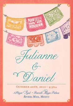 Colourful mexican themed wedding invitations by Vir Lief This is