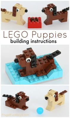 How to Build Puppies with LEGO Bricks - Frugal Fun for Boys and Girls - Lego Club, Lego Design, Lego Duplo, Lego Dog, Construction Lego, Lego Challenge, Lego Craft, Lego For Kids, Fun Activities For Kids