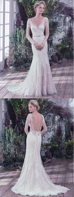 This beautiful Maggie Sottero Bridal Dress Style Roberta is a long sleeve lace design with a low scoop back. Its a fit and flare sheath that has a modest lace train. #weddingdresstrends2016