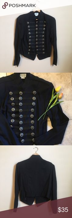Vintage Military Jacket 80s/90s Vintage military style jacket by Mark Farrel. Black with silver buttons. Size 9/10, fits like a medium. Very lightweight! This jacket does have shoulder pads that are easily removable. Vintage Jackets & Coats Utility Jackets
