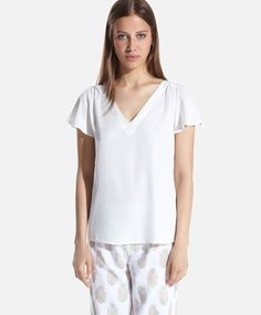 Maglietta pigiama filo metallico argentato - OYSHO