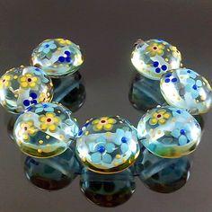 PIKALDA=handmade lampwork 7 glass beads flower blossom garden=GREENERY SKY=SRA