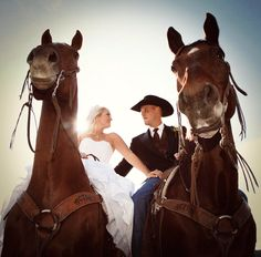 Bride and groom on horseback