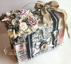 Altered Chest using the Prima Romance Novel collection.so I'm doing double duty on this project lol! Scrapbook Box, Scrapbooking, Mixed Media Boxes, Shabby Chic Boxes, Altered Cigar Boxes, Diy And Crafts, Paper Crafts, Decoupage, Old Boxes