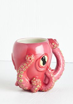 Ink Black Coffee Mug. Add a splash of daring excitement to your simple, black coffee with the help of this octopus mug by One Hundred 80 Degrees! #pink #modcloth