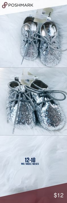 Silver Sparkly Baby Shoes Ummmm I wish I had a baby for these shoes 😭 so cute. Brand new! Old Navy Shoes Baby & Walker