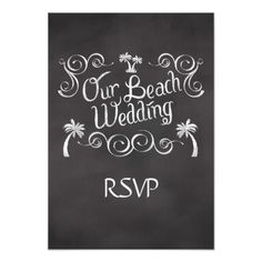 "Chalkboard Our Beach Wedding Matching RSVP Reply 3.5"" X 5"" Invitation Card"