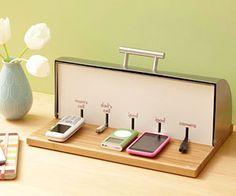 breadbox charging station - cute idea. #charging #electronics #organizing