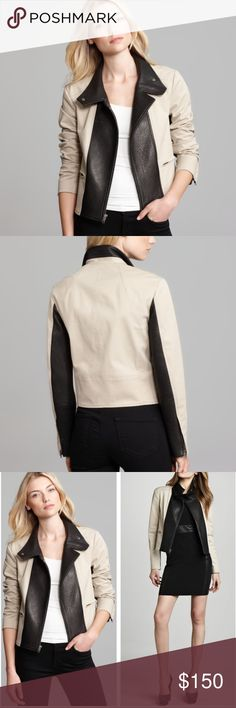 """•Theory• Velea Clovis Leather Panel Jacket Theory Velea Clovis Leather Panel Jacket in Excellent Used Condition. This edgy leather and Ponte jacket has two looks in one- snap close for and urban cool funnel-neck or leave open for a classic notch lapel. Asymmetrical front zip closure, front zip pockets, lined. When Laying Flat: Bust Measures Approximately 19"""" Across, Length 22"""", Shoulder to Hem 24.5"""" Theory Jackets & Coats"""