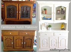 "HGTV's ""Fixer Upper"" inspired Farmhouse Hutch. Easy and budget friendly steps to redo an outdated oak hutch. Pretty much all you need is paint and chicken wire! mimiberrycreations.com"