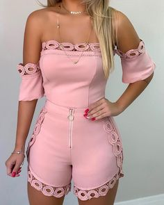 Sexy😍 off shoulder hollow out lace detail top & sets😰.Sexy😍 off shoulder hollow out lace detail top & sets😰 Tag your friends💗 . Rompers Women, Jumpsuits For Women, Fashion Jumpsuits, Fashion Skirts, Summer Outfits, Casual Outfits, Plus Size Romper, Trend Fashion, Women's Fashion