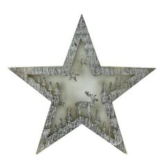 """10"""""""" Battery Operated LED Lighted Rustic Wooden Star Christmas Decoration - Deer"""