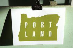 Portland Oregon Letterpress Card by cottonflowerpress on Etsy