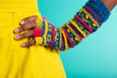 Second pattern of the Warm Hand collection, edited by Jeanette Sloan and Kate Davies: colourful fingerless gloves with added texture - so beautiful Kirsties Handmade Christmas, Words Meaning Beautiful, Last Stitch, Popular Girl, Hand Dyed Yarn, African Fabric, Knitting Socks, Fingerless Gloves, Arm Warmers