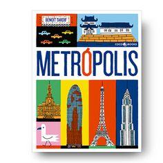 ¡Metrópolis es un divertido viaje en imágenes por todo el mundo! Son treinta y dos ciudades, las más representativas de nuestro planeta,ilustradas con colores vivos y mucho humor. Un recorrido que empieza enBarcelona y atraviesa Europa,pasando por urbescomo Ámsterdam, Estocolmo o Atenas, paradirigirseluegohacialaexótica África; allí podrás degustarun delicioso té en la históricaciudad de Fez,y a continuación sobrevolarás Nairobi para llegar a Asia y aterrizar en la mítica Bombay…