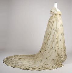Evening dress, 1805–10, French. Cotton, metallic thread. In the Metropolitan Museum of Art collection. (More pictures of this dress are available on the museum's website.)