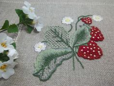 strawberries pattern #tablecloth  DMC Colors used:  for strawberries, 3777 - 304per leaves, 520 to 523 - 522 - 3022 - 3053per the flowers, ecru - 948per buds, 727